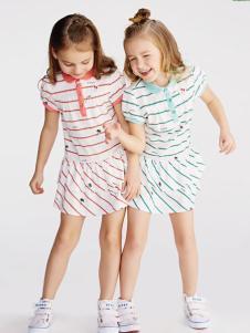 小猪班纳女小童17夏新款条纹连衣裙