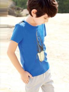 帕纳摩亚童装天蓝色T恤