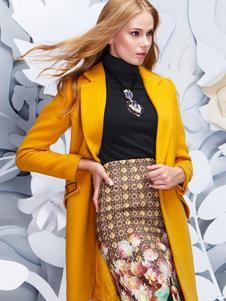佩吉女装黄色大翻领大衣