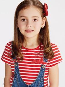 小猪班纳女童17夏新款条纹上衣