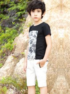帕纳摩亚童装黑色圆领T恤