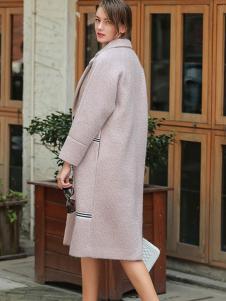 璞秀女装嫩粉色廓形长大衣