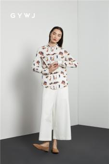 GYWJ(己以)2017春款白色阔腿裤