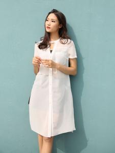 音非女装17夏新款白色连衣裙