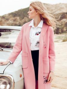 QZMEI芊之美女装粉色长外套