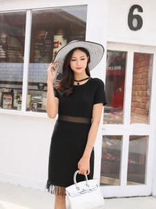 音非女装17夏季新款黑色连衣裙