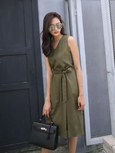 音非女装17夏新款绿色连衣裙