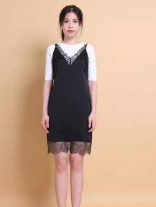 37度love黑色蕾丝连衣裙