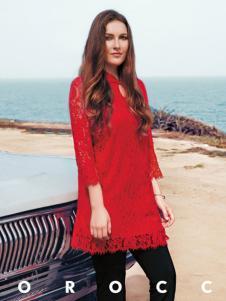 QZMEI芊之美女装红色蕾丝裙