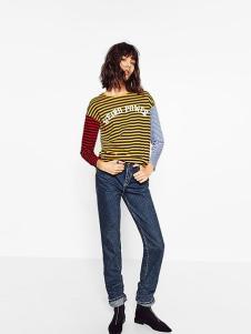 波可诺新款女装条纹撞色T恤