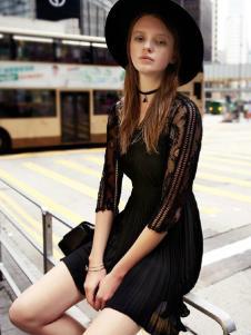 千细女装黑色蕾丝裙