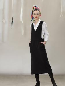 约布黑色时尚背带裙