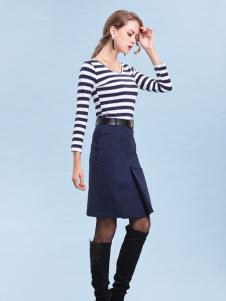 丹妮丽人条纹时尚收腰连衣裙