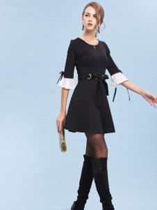 丹妮丽人黑色收腰连衣裙