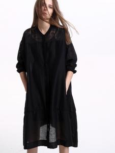 意澳黑色时尚长衫