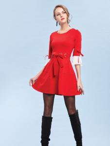 丹妮丽人红色时尚收腰连衣裙