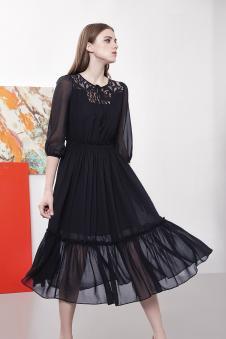 席薇亚2017春款黑色纱裙