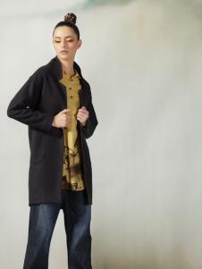 约布黑色长款外套