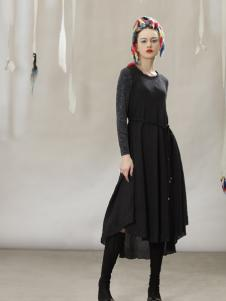 约布黑色时尚收腰连衣裙