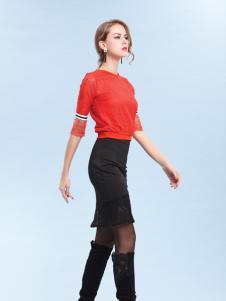 丹妮丽人红色蕾丝上衣