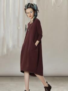 约布酒红廓形时尚连衣裙
