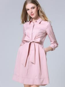 CXDTOP茜诗迪2017春夏新品粉色风衣