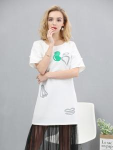 欧米媞白色印花长T恤