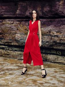 佧茜文17新款红色连衣裙