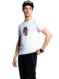 诺奇男士白色圆领T恤