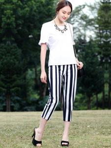 晴迷桂莉女装条纹七分裤