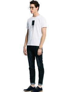 诺奇男士白色修身T恤