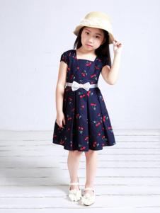 裘帛童装印花连衣裙