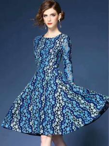 色弋瑞时尚收腰连衣裙