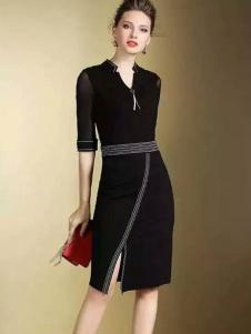 色弋瑞黑色时尚收腰连衣裙