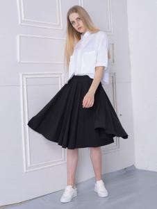 然可时女装黑色半裙