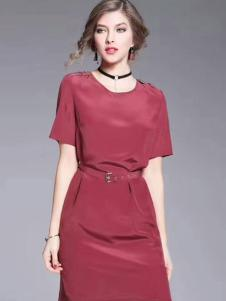 色弋瑞红色时尚收腰连衣裙