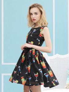欧米媞2017新品印花连衣裙