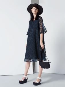 ROSEMOO容子木2017春夏新品藏青色蕾丝裙