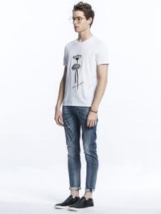 诺奇男士白色卡通T恤