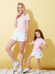 上流家族亲子装粉色翻领T恤