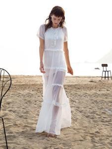 璱妠女装白色雪纺长裙