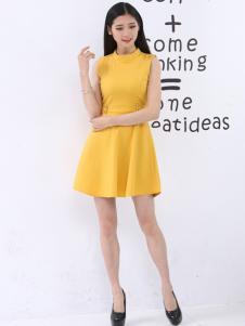 尚可斯女装尚可斯2017春夏新品姜黄色收腰裙