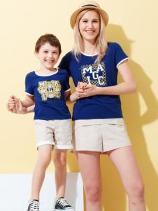 上流家族亲子装宝蓝色T恤