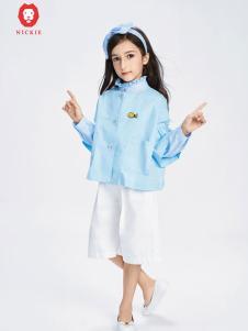 NICKIE童装蓝色时尚上衣新款