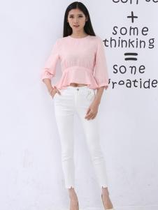 尚可斯女装尚可斯2017春夏新品粉色上衣