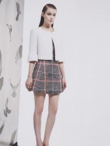 阿莱贝琳女装2017年大格子连衣裙