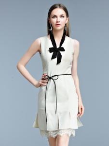 艾丽哲2017春夏新品无袖收腰连衣裙