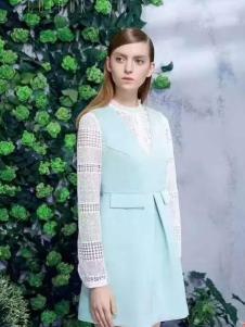 三彩女装天蓝色连衣裙