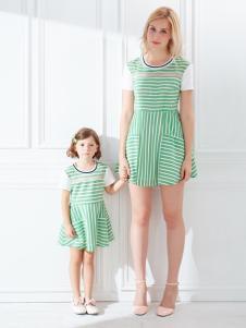 上流家族亲子装绿色条纹裙