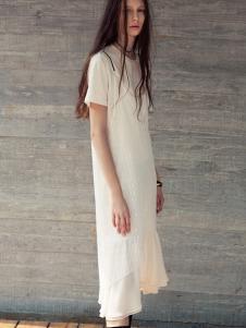 JUMEL芮玛2017春夏新品白色长裙